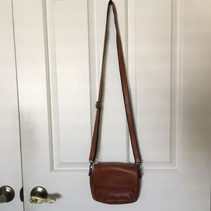 Genuine leather small brown bag